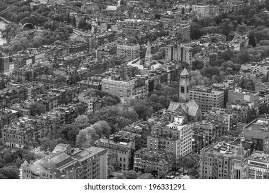 An aerial view of Boston cityscape in black and white