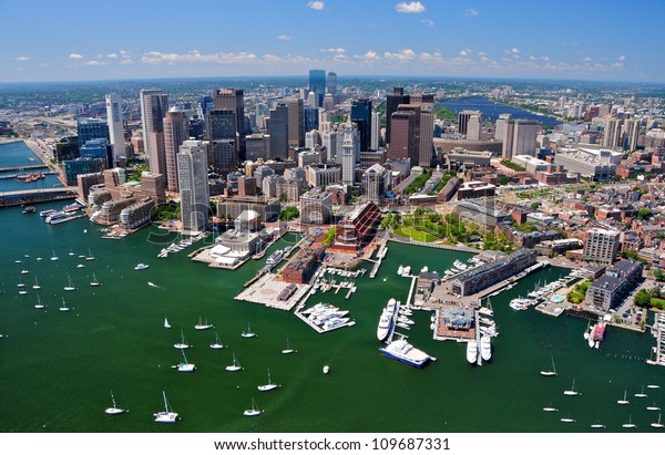 Aerial view of Boston, MA, USA