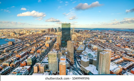 Aerial view of Boston in Massachusetts, USA at sunset in winter