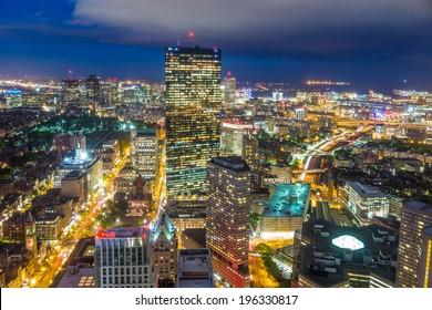 Aerial view of Boston in Massachusetts, USA.