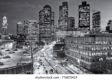 Aerial view of Boston in Massachusetts, USA at night showcasing its mix of contemporary and historic architecture at Government Center in the North End of the city.