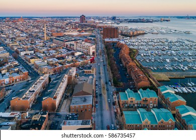 Aerial view of Boston Street and the Canton Waterfront, in Baltimore, Maryland.
