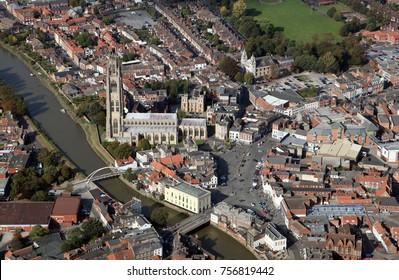 aerial view of the Boston Stump Church and Boston town centre, Lincolnshire, UK