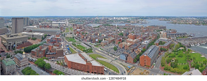 Aerial view of Boston Waterfront, Long Wharf and North End panorama, from top of Custom House, Boston, Massachusetts, USA.