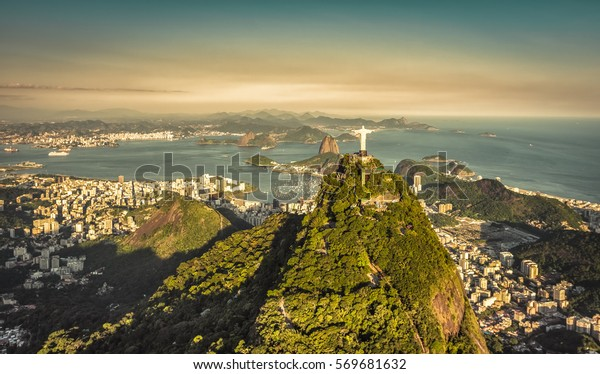 Aerial view of Botafogo Bay with late afternoon light in Rio De Janeiro, Brazil