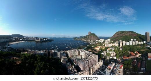 Aerial view of Botafogo Cove, Morro da Urca and Sugar Loaf, famous places in Rio de Janeiro