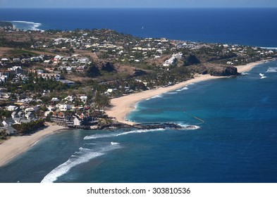 Aerial view boucan canot reunion island