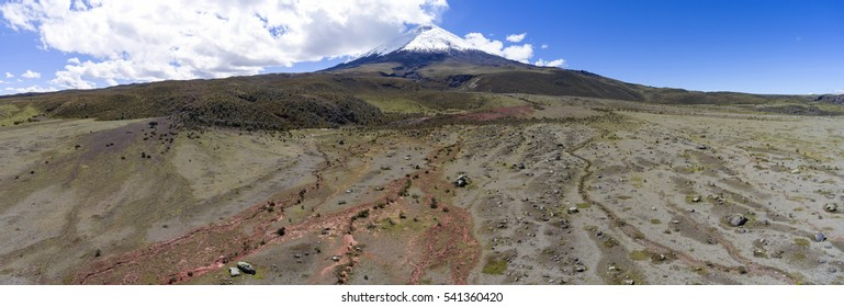 Aerial view of a boulder field on the lower slopes of Cotopaxi Volcano in the Ecuadorian Andes. There are many drainage channels left by debris flows from previous eruptions..