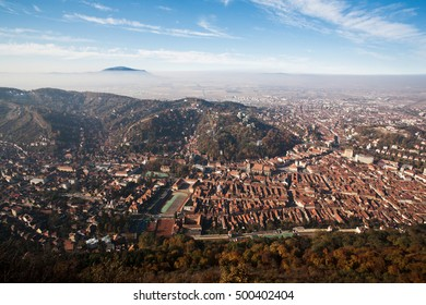 Aerial view of Brasov City on sunny day.