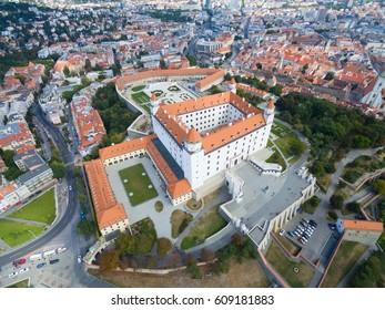 Aerial view of Bratislava castle and Danube river