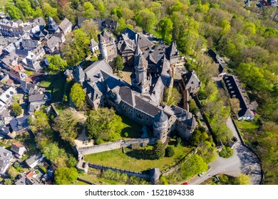 Aerial View, Braunfels Castle, with Hubertus Tower, New  Hesse, Germany,
