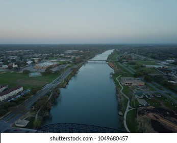 Aerial view of the Brazos River in Waco Texas