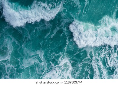 Aerial view of a breaking wave in the Atlantic Ocean