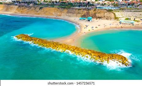 Aerial view of the breakwater Bar Kokhva beach, Ashkelon, Israel at July 2019.