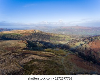 Aerial view of Brecon Beacons. Near Keepers Pond, The Blorenge, Abergavenny, Wales, United Kingdom