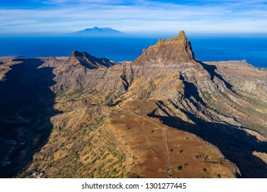 Aerial view of Brianda mount in Rebeirao Manuel in Santiago island in Cape Verde - Cabo Verde