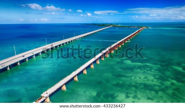 Aerial view of Bridge connecting Keys, Florida.
