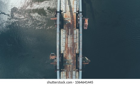 Aerial view of the bridge  construction on the Dnieper River.  - Shutterstock ID 1064641445