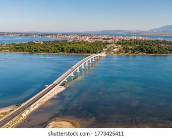 Aerial view of bridge to island Vir over the Adriatic sea in Croatia