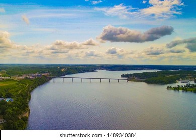 Aerial view of a bridge at the Lake of the Ozarks Missouri with a gorgeous blue sky