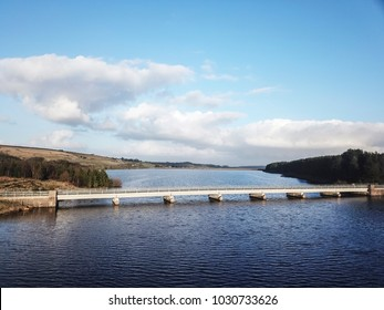 Aerial view of the bridge over Baitings Reservoir, nr Ripponden, West Yorkshire