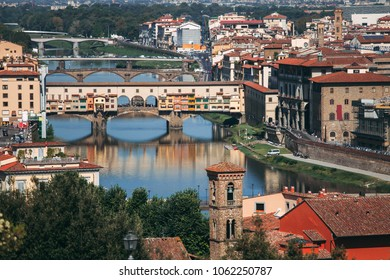 Aerial view bridge Ponte Vecchio, Florence, Italy