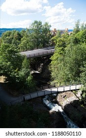 aerial view of bridges over river in Lillehammer, Oppland, Norway