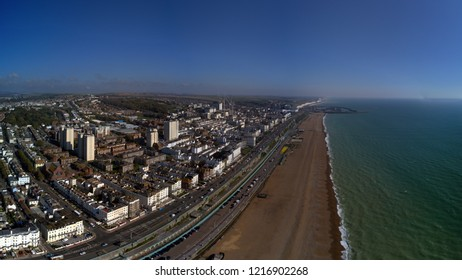 Aerial view of Brighton and Hove sea front in September.  On the South coast Brighton is one of the UKs top seaside holiday and day trip location with historical piers, fairs and even a nudist beach.