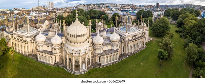Aerial view of Brighton in summer, England