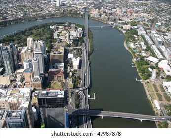 Aerial view of Brisbane, capital of Queensland, Australia.  The City is split by the Brisbane River with CBD to the left and South Bank Parklands to the right.