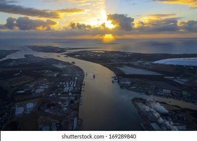 Aerial view of the  Brisbane river,  Brisbane   Australia.