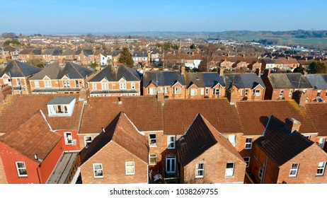Aerial view of British housing development, in Yeovil, Somerset- England UK