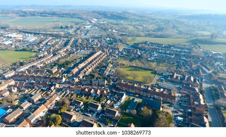 Aerial view of British housing development, in Yeovil, Somerset- England UK