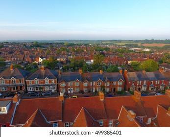 Aerial view of British housing development