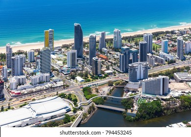 Aerial view of Broadbeach with the convention centre and casino on the Gold Coast, Queensland, Australia