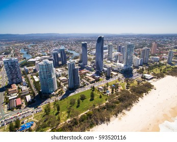 An aerial view of the Broadbeach skyline of the Gold Coast, Queensland, Australia