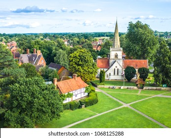 Aerial view of Brockham village green and church, a typical souther English Village in the Surrey Hills