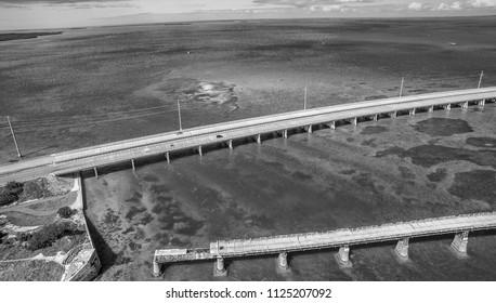 Aerial view of Broken Bridge and Overseas Highway in Bahia Honda state park, Florida.