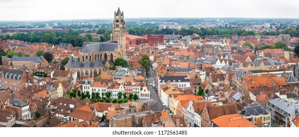 An aerial view of Bruges, Belgium, on an overcast day.