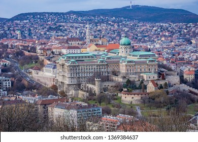 Aerial View of the Buda Castle Royal Palace and surrounding areas in Budapest, Hungary, Europe
