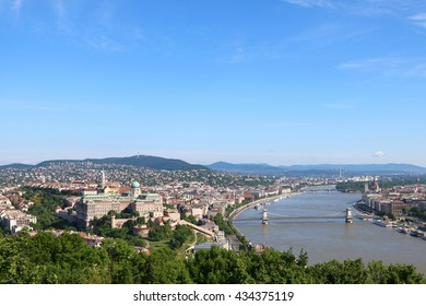 Aerial view of Budapest across Danube River, with Chain Bridge and Margaret Bridge and Hungarian Parliament Building in sight