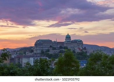 Aerial view of Budapest Castle at Sunset, Hungary