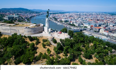 Aerial View of Budapest and the Danube River and Liberty statue