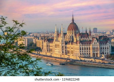 Aerial view of Budapest parliament andt the Danube river at sunset, Hungary
