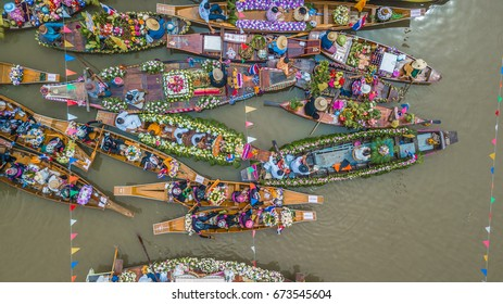 Aerial view The Buddhist Lent Day in Lad Chado candle floating festival, Ayutthaya Province, Thailand.