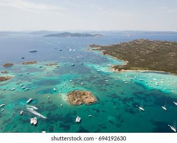 Aerial view of  Budelli island, Maddalena archipelago. Sardinia