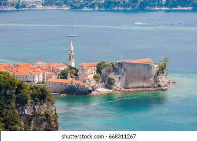 Aerial view of Budva Old Town