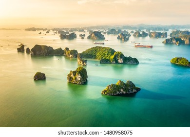 Aerial view Bui Xam area and rock island, Halong Bay, Vietnam, Southeast Asia. UNESCO World Heritage Site. Junk boat cruise to Ha Long Bay. Popular landmark, famous destination of Vietnam