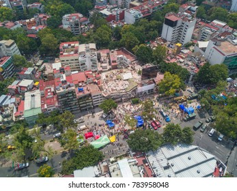 aerial view of a building collapsed in the quake