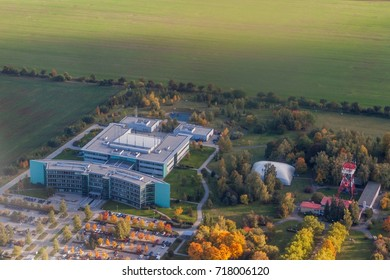 Aerial view of a building of Rizeni letoveho provozu Ceske republiky (Air traffic control of the Czech Republic) - Shutterstock ID 718006120